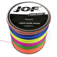 0209601 Шнур плетеный JOF PE (Китай). 4 нити, 0,4 мм, 60 lb, 27,2 кг, 300 м, многоцветный