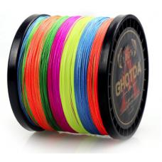 0209604 Шнур плетеный GHOTRA (Китай), 8 нитей, 0,37 мм (5.0#), 300 м, 52 lb (24 кг), многоцветный
