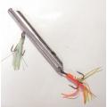 0300048 КОМИССИОНКА: Пилькер Б/У циллиндрический, полированная нержавейка. 20 см. d=25 мм. Вес 900 г. Крючки 6/0 и 8/0