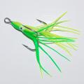 0182212 Крючок-тройник для пилькера Mustad 3551 DT 12/0. Привлекающий элемент желто-зеленый октопус