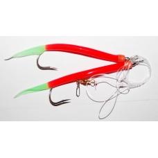0120150 Усиленная ставка дроп шот (drop shot), 2 крючка Gummi Makk 6/0. Цвет:  красные со светонакопительными кончиками