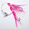 0120643 Усиленная ставка-патерностер 2 крючка 8/0, розово-перламутровые с блестками октопусы 15 см с химическим светлячком внутри