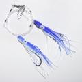 0300214 (0120644) КОМИССИОНКА  Усиленная ставка-патерностер 2 крючка 8/0, сине-белый октопусы 15 см с химическим светлячком внутри . В воде не были