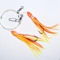0120640 Усиленная ставка-патерностер 2 крючка 8/0, желто-оранжевый октопус 15 см с химическим светлячком внутри