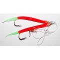 0120011 Усиленная ставка дроп шот (drop shot), 2 крючка Gummi Makk 12/0. Цвет:  красные со светонакопительными кончиками